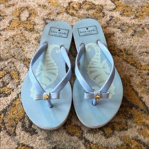 Baby blue Kate Spade flip flops